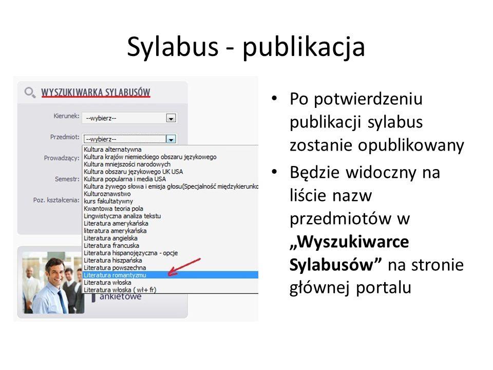 Sylabus - publikacja Po potwierdzeniu publikacji sylabus zostanie opublikowany Będzie widoczny na liście nazw przedmiotów w Wyszukiwarce Sylabusów na