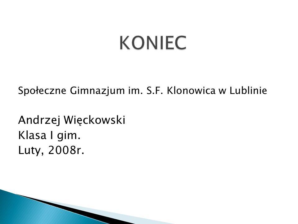 Społeczne Gimnazjum im. S.F. Klonowica w Lublinie Andrzej Więckowski Klasa I gim. Luty, 2008r.