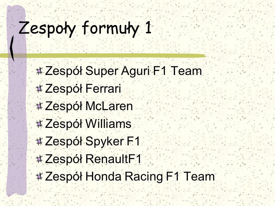 Zespoły formuły 1 Zespół Super Aguri F1 Team Zespół Ferrari Zespół McLaren Zespół Williams Zespół Spyker F1 Zespół RenaultF1 Zespół Honda Racing F1 Te