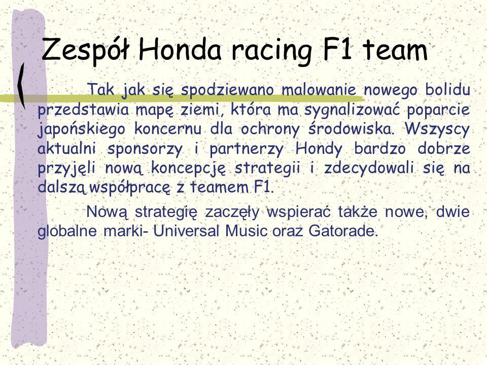 Zespół Honda racing F1 team Tak jak się spodziewano malowanie nowego bolidu przedstawia mapę ziemi, która ma sygnalizować poparcie japońskiego koncern