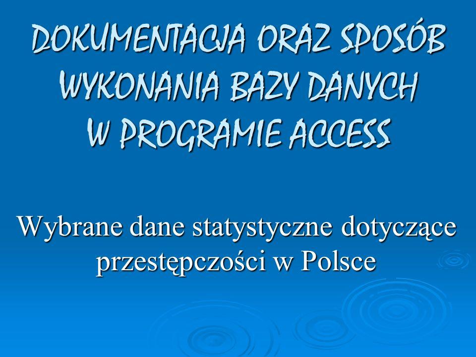 Wybrane dane statystyczne dotyczące przestępczości w Polsce DOKUMENTACJA ORAZ SPOSÓB WYKONANIA BAZY DANYCH W PROGRAMIE ACCESS