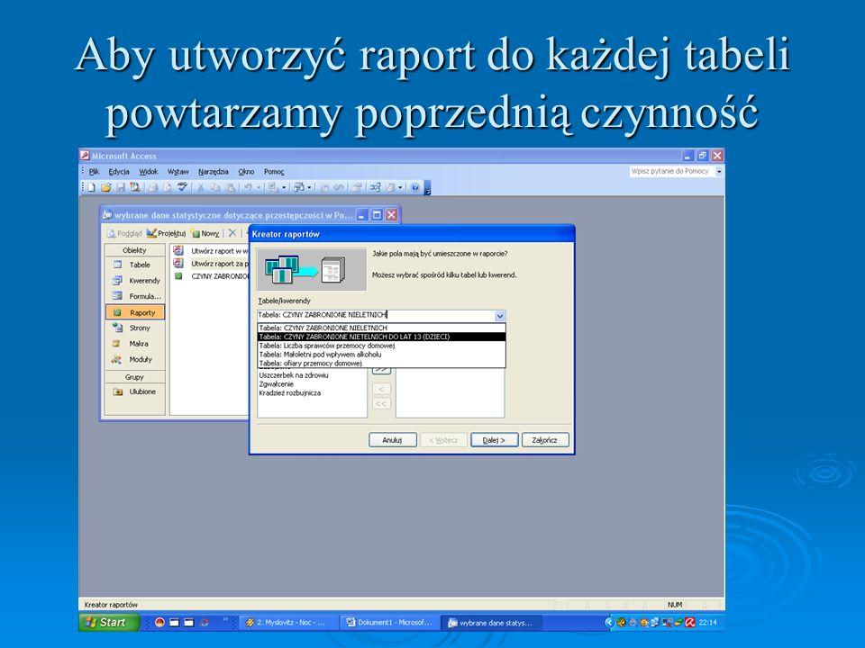 Aby utworzyć raport do każdej tabeli powtarzamy poprzednią czynność