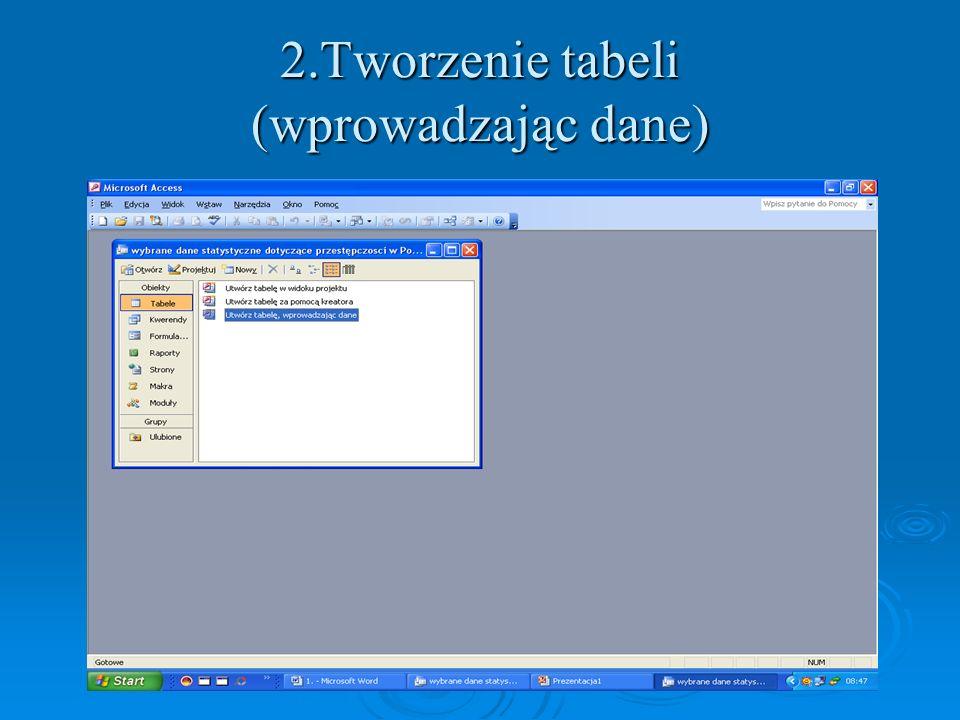 2.Tworzenie tabeli (wprowadzając dane)
