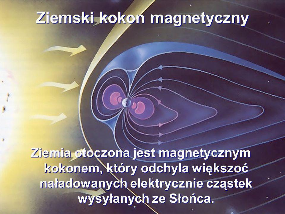 Ziemski kokon magnetyczny Ziemia otoczona jest magnetycznym kokonem, który odchyla większoć naładowanych elektrycznie cząstek wysyłanych ze Słońca.