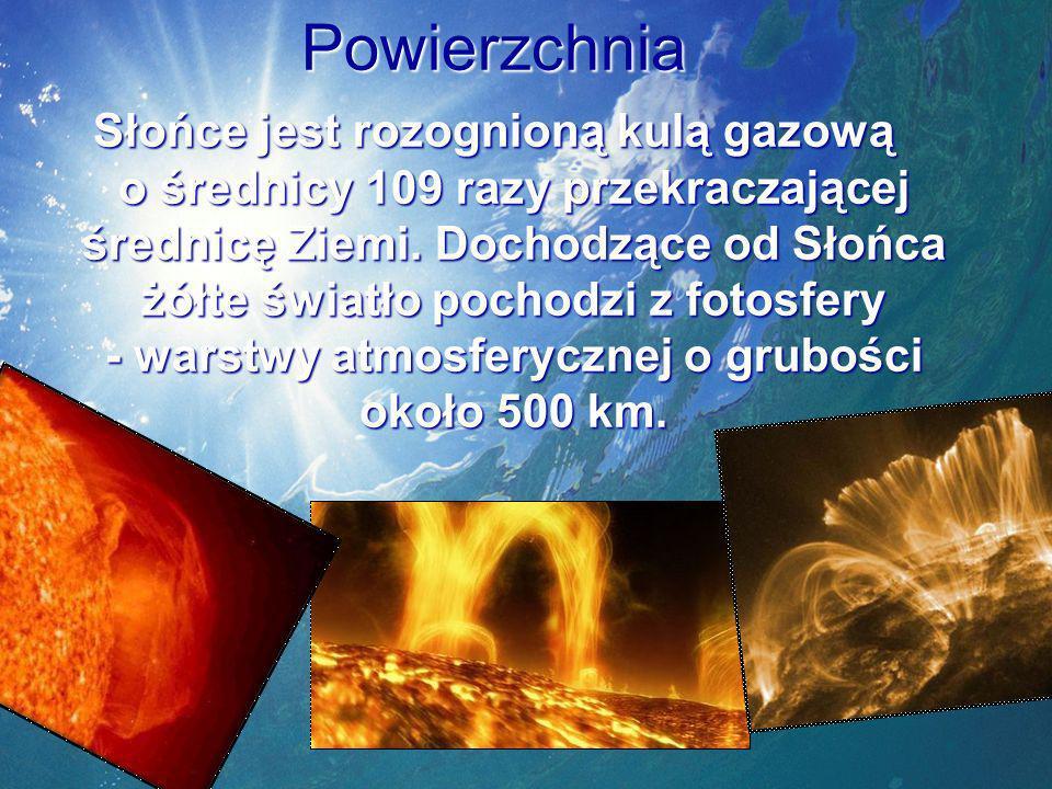 Powierzchnia Słońce jest rozognioną kulą gazową o średnicy 109 razy przekraczającej średnicę Ziemi.