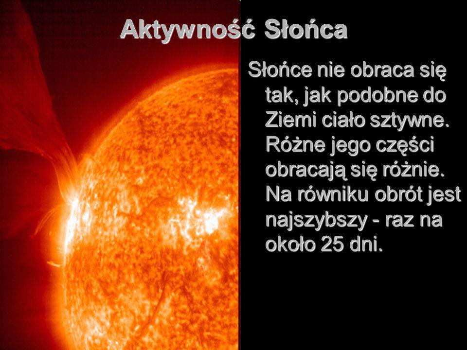 Aktywność Słońca Słońce nie obraca się tak, jak podobne do Ziemi ciało sztywne.