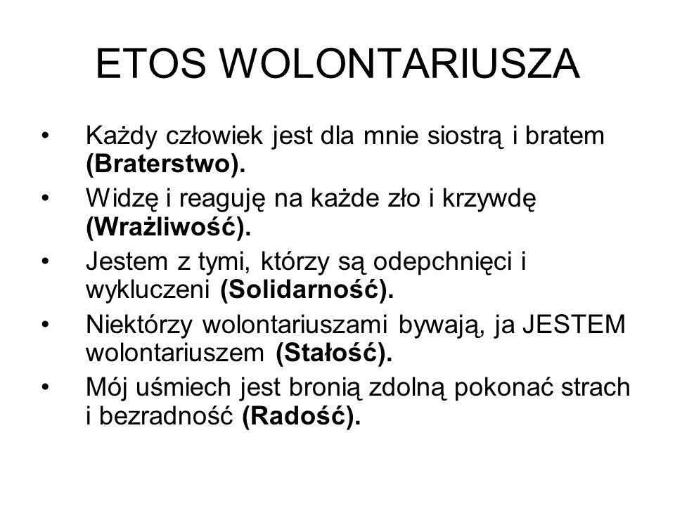 ETOS WOLONTARIUSZA Każdy człowiek jest dla mnie siostrą i bratem (Braterstwo).