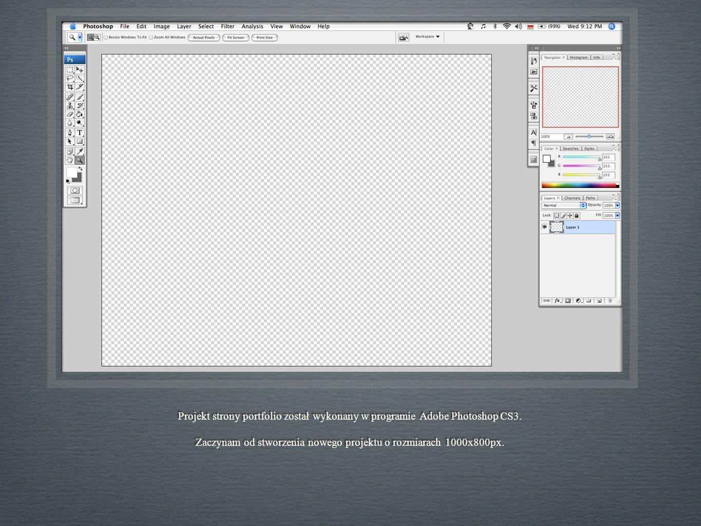 Projekt strony portfolio został wykonany w programie Adobe Photoshop CS3.