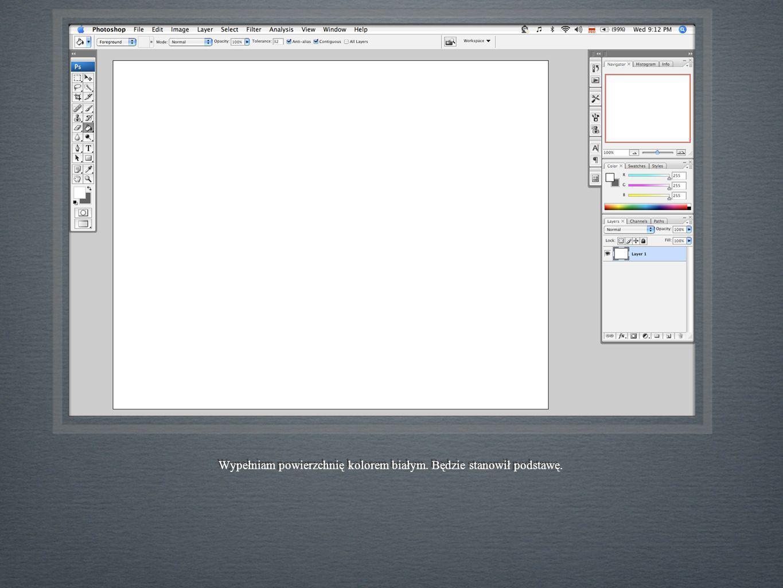 Wypełniam powierzchnię kolorem białym. Będzie stanowił podstawę.