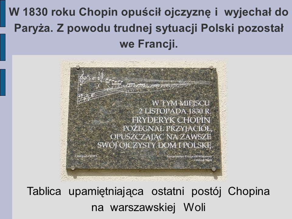 W 1830 roku Chopin opuścił ojczyznę i wyjechał do Paryża. Z powodu trudnej sytuacji Polski pozostał we Francji. Tablica upamiętniająca ostatni postój