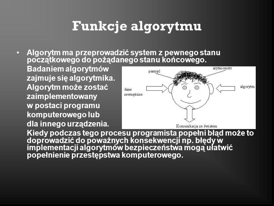 Funkcje algorytmu Algorytm ma przeprowadzić system z pewnego stanu początkowego do pożądanego stanu końcowego. Badaniem algorytmów zajmuje się algoryt