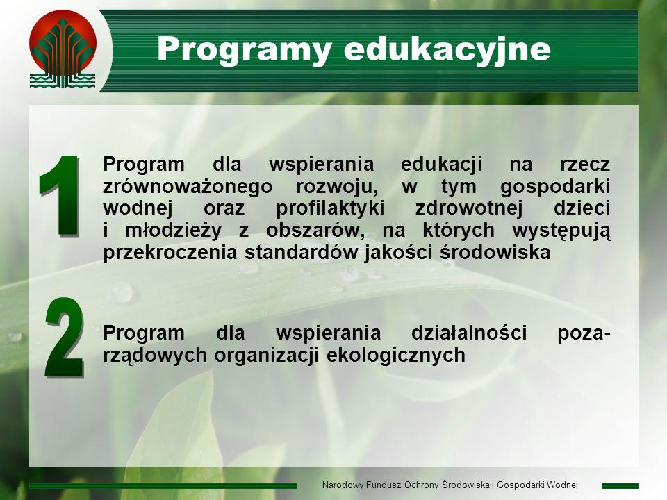 Narodowy Fundusz Ochrony Środowiska i Gospodarki Wodnej Programy edukacyjne Program dla wspierania edukacji na rzecz zrównoważonego rozwoju, w tym gospodarki wodnej oraz profilaktyki zdrowotnej dzieci i młodzieży z obszarów, na których występują przekroczenia standardów jakości środowiska Program dla wspierania działalności poza- rządowych organizacji ekologicznych