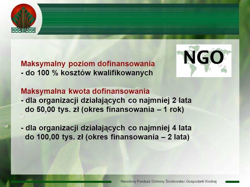 Narodowy Fundusz Ochrony Środowiska i Gospodarki Wodnej Maksymalny poziom dofinansowania - do 100 % kosztów kwalifikowanych Maksymalna kwota dofinansowania - dla organizacji działających co najmniej 2 lata do 50,00 tys.