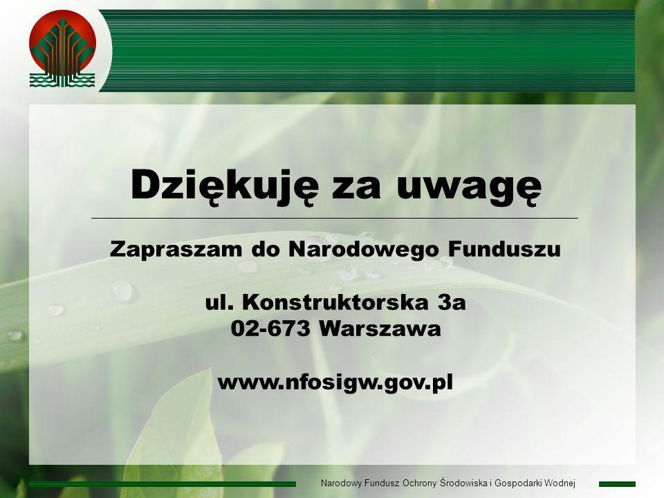 Narodowy Fundusz Ochrony Środowiska i Gospodarki Wodnej Dziękuję za uwagę Zapraszam do Narodowego Funduszu ul.