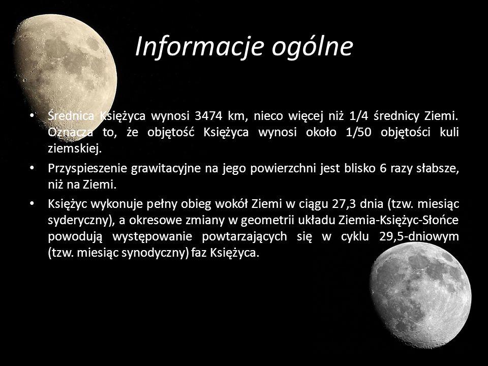 Informacje ogólne Średnica Księżyca wynosi 3474 km, nieco więcej niż 1/4 średnicy Ziemi. Oznacza to, że objętość Księżyca wynosi około 1/50 objętości
