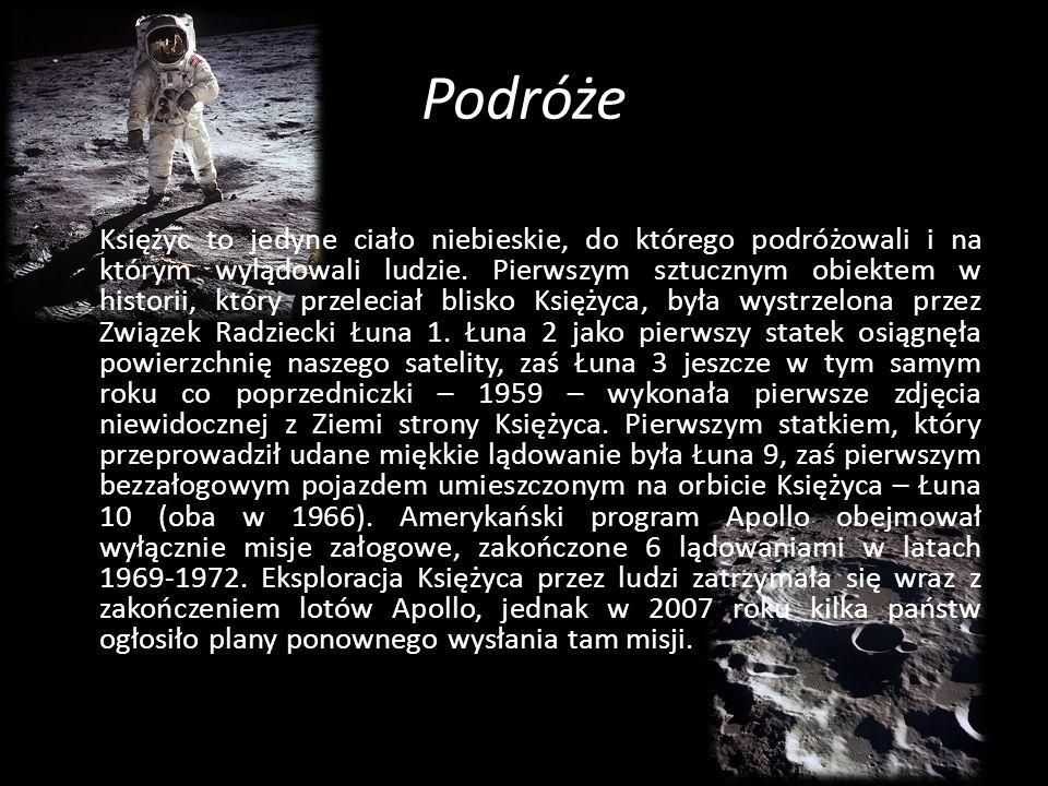 Podróże Księżyc to jedyne ciało niebieskie, do którego podróżowali i na którym wylądowali ludzie. Pierwszym sztucznym obiektem w historii, który przel