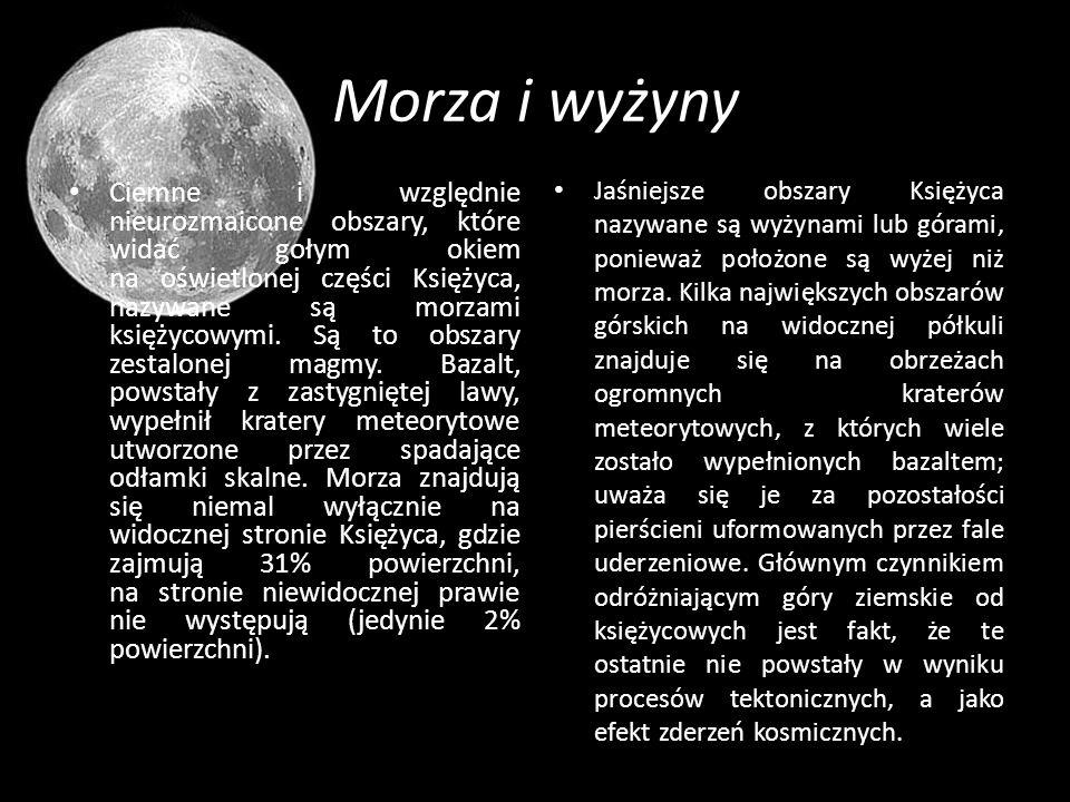 Morza i wyżyny Ciemne i względnie nieurozmaicone obszary, które widać gołym okiem na oświetlonej części Księżyca, nazywane są morzami księżycowymi. Są