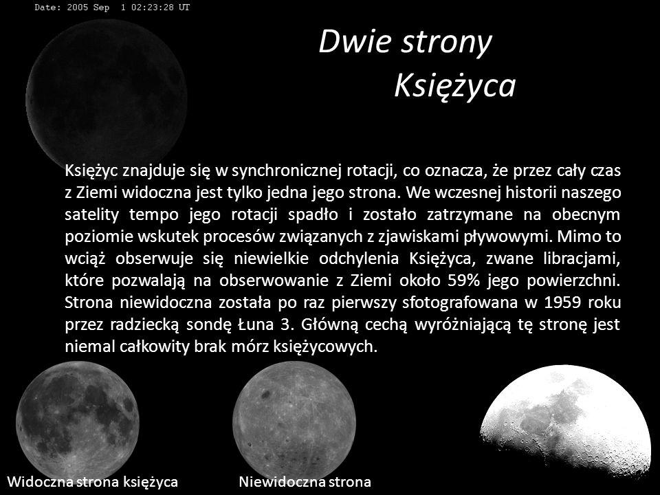 Dwie strony Księżyca Księżyc znajduje się w synchronicznej rotacji, co oznacza, że przez cały czas z Ziemi widoczna jest tylko jedna jego strona. We w