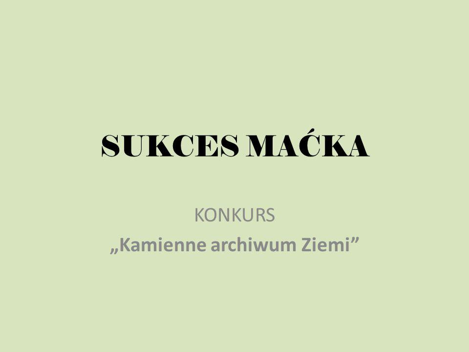 SUKCES MAĆKA KONKURS Kamienne archiwum Ziemi