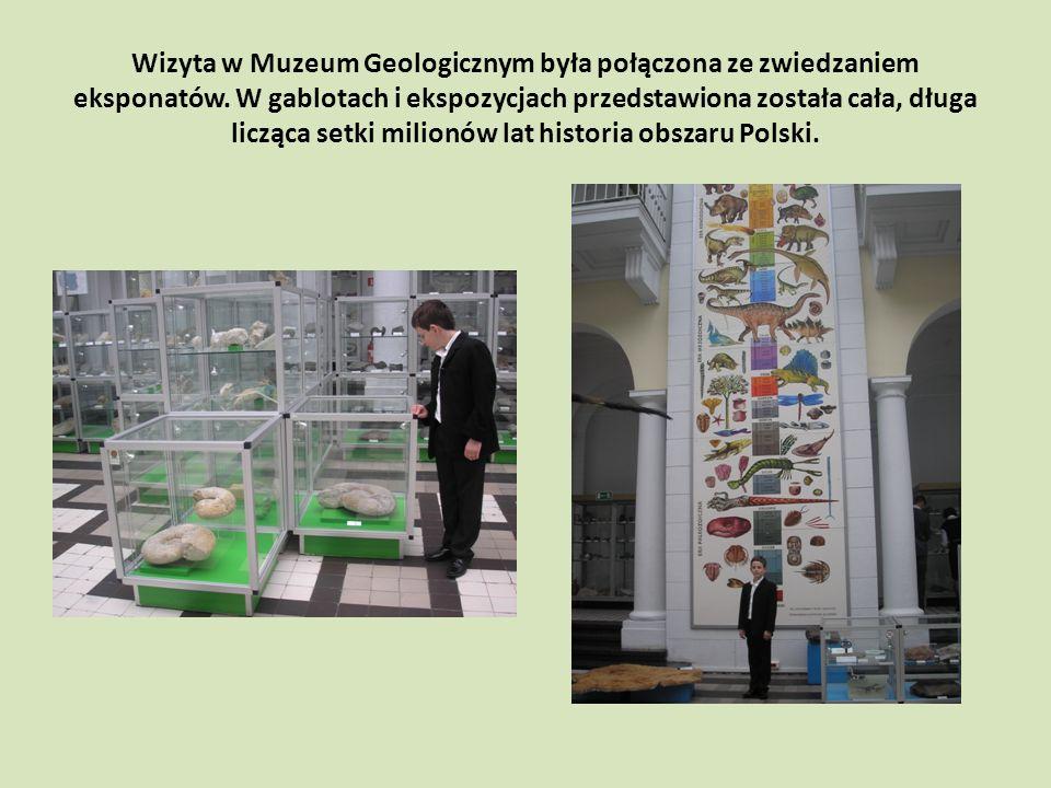 Wizyta w Muzeum Geologicznym była połączona ze zwiedzaniem eksponatów.
