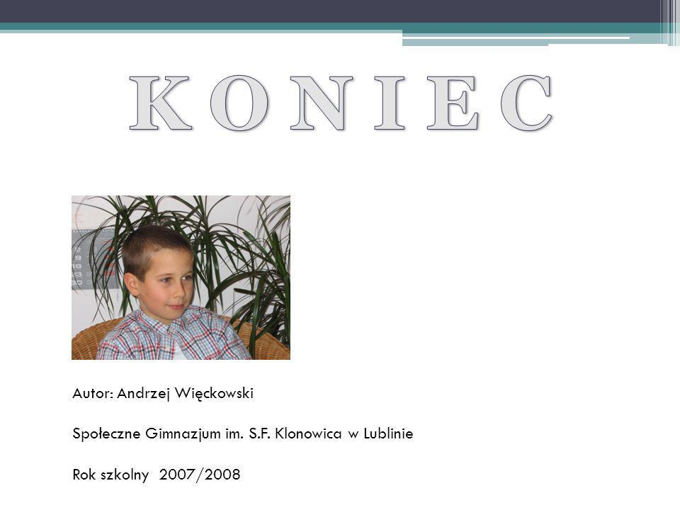 Autor: Andrzej Więckowski Społeczne Gimnazjum im. S.F. Klonowica w Lublinie Rok szkolny 2007/2008