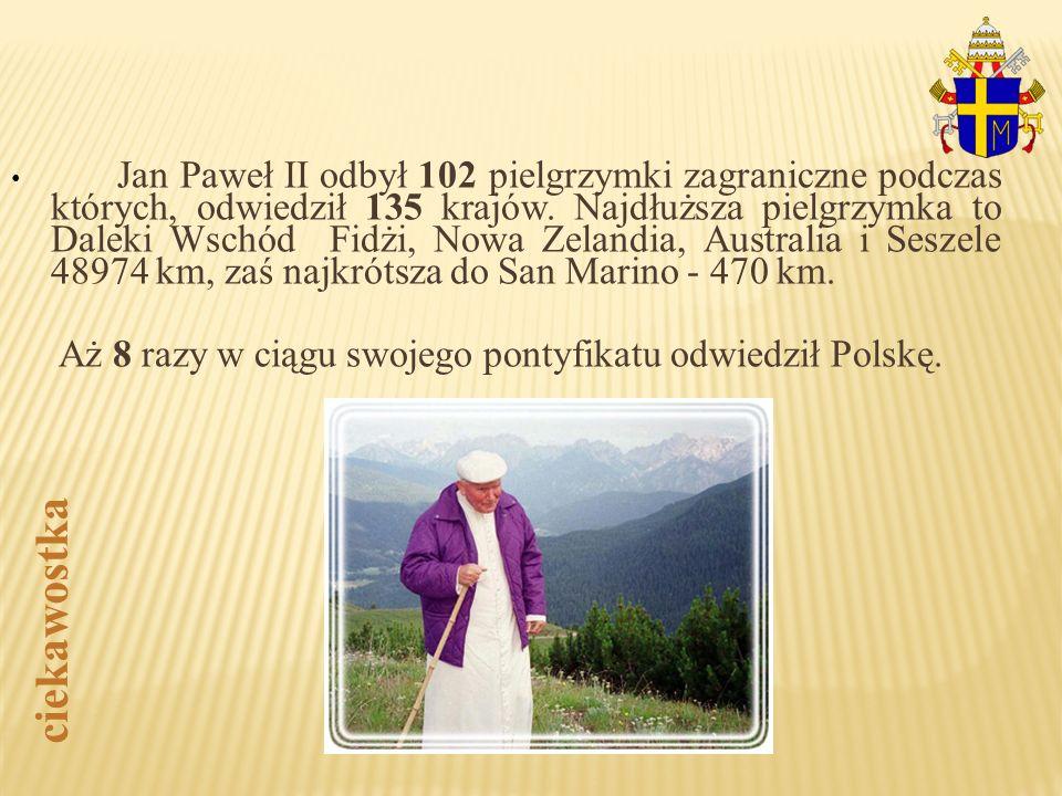 Jan Paweł II odbył 102 pielgrzymki zagraniczne podczas których, odwiedził 135 krajów. Najdłuższa pielgrzymka to Daleki Wschód Fidżi, Nowa Zelandia, Au