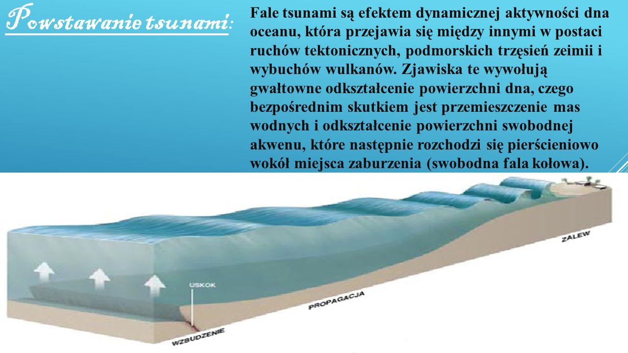 Powstawanie tsunami : Fale tsunami są efektem dynamicznej aktywności dna oceanu, która przejawia się między innymi w postaci ruchów tektonicznych, pod