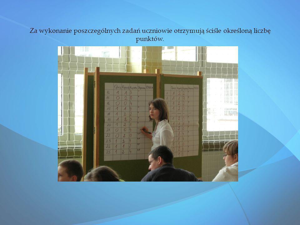 Za wykonanie poszczególnych zadań uczniowie otrzymują ściśle określoną liczbę punktów.