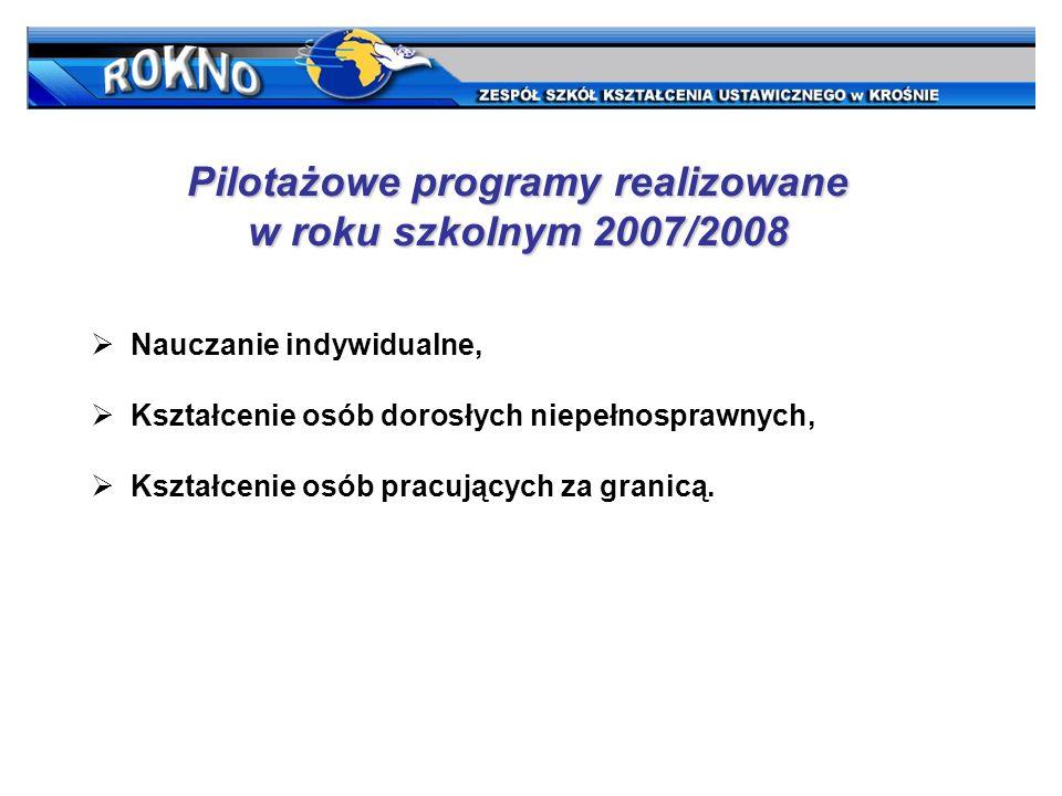 Pilotażowe programy realizowane w roku szkolnym 2007/2008 Nauczanie indywidualne, Kształcenie osób dorosłych niepełnosprawnych, Kształcenie osób pracujących za granicą.