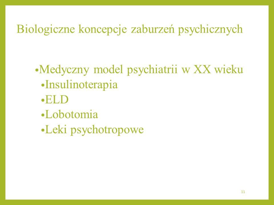 Biologiczne koncepcje zaburzeń psychicznych Medyczny model psychiatrii w XX wieku Insulinoterapia ELD Lobotomia Leki psychotropowe 11