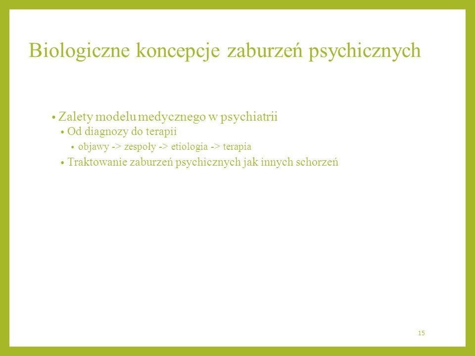 Biologiczne koncepcje zaburzeń psychicznych Zalety modelu medycznego w psychiatrii Od diagnozy do terapii objawy -> zespoły -> etiologia -> terapia Tr