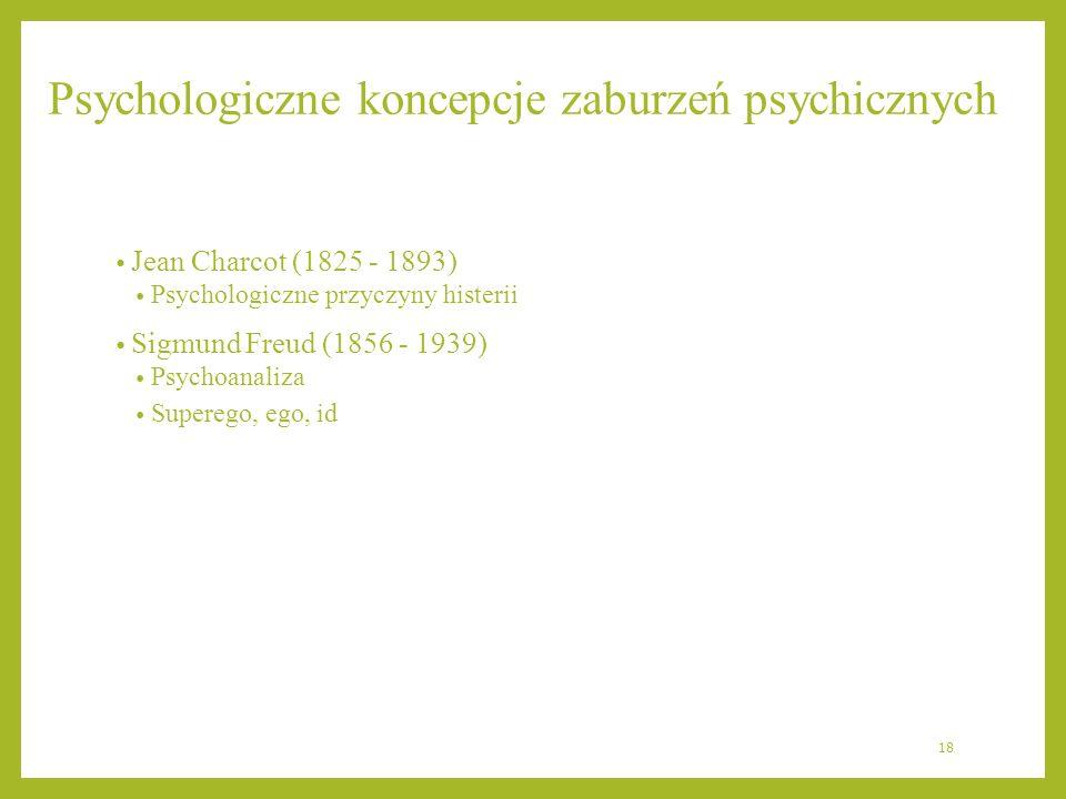 Psychologiczne koncepcje zaburzeń psychicznych Jean Charcot (1825 - 1893) Psychologiczne przyczyny histerii Sigmund Freud (1856 - 1939) Psychoanaliza