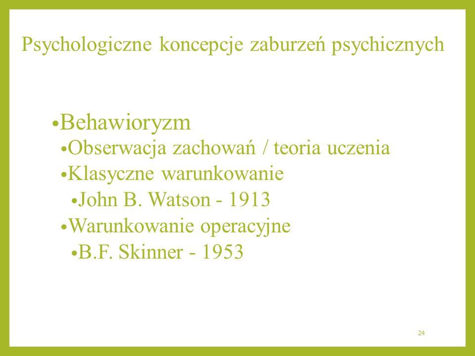 Psychologiczne koncepcje zaburzeń psychicznych Behawioryzm Obserwacja zachowań / teoria uczenia Klasyczne warunkowanie John B. Watson - 1913 Warunkowa
