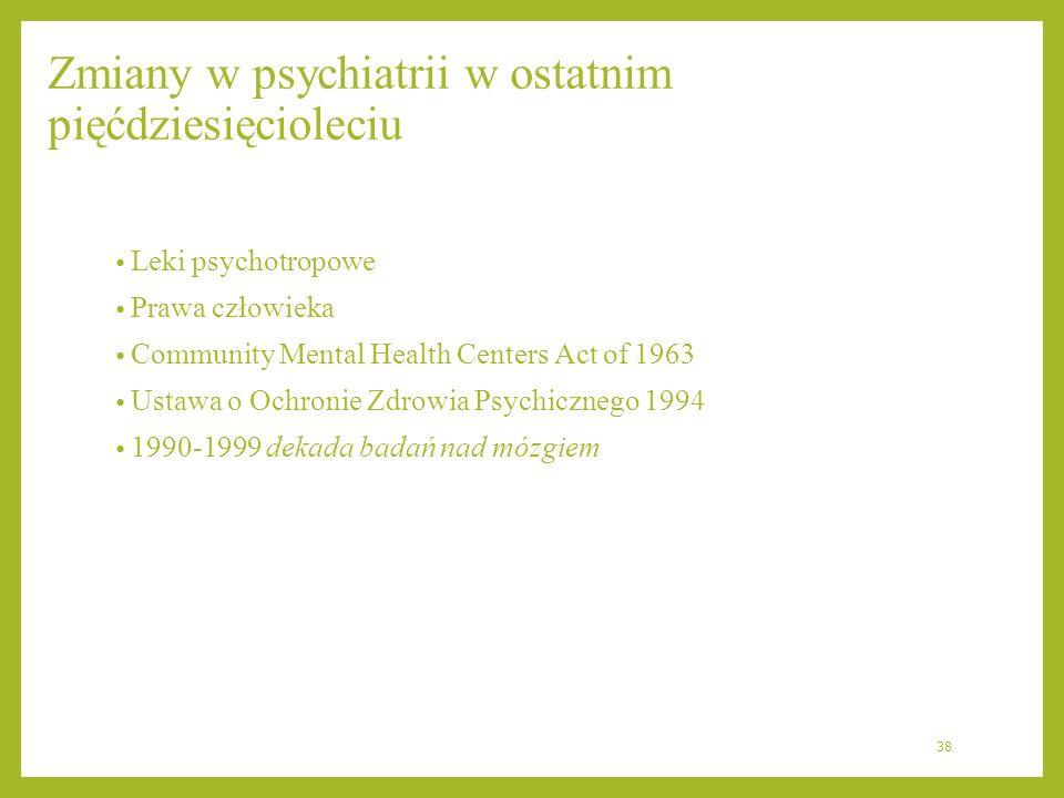 Zmiany w psychiatrii w ostatnim pięćdziesięcioleciu Leki psychotropowe Prawa człowieka Community Mental Health Centers Act of 1963 Ustawa o Ochronie Z