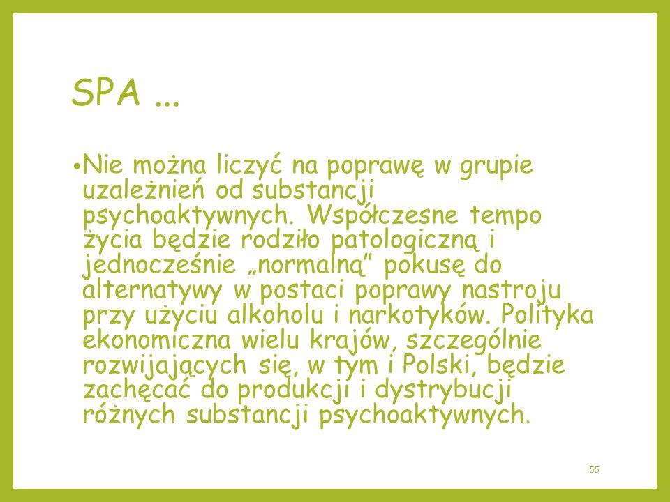 SPA... Nie można liczyć na poprawę w grupie uzależnień od substancji psychoaktywnych. Współczesne tempo życia będzie rodziło patologiczną i jednocześn