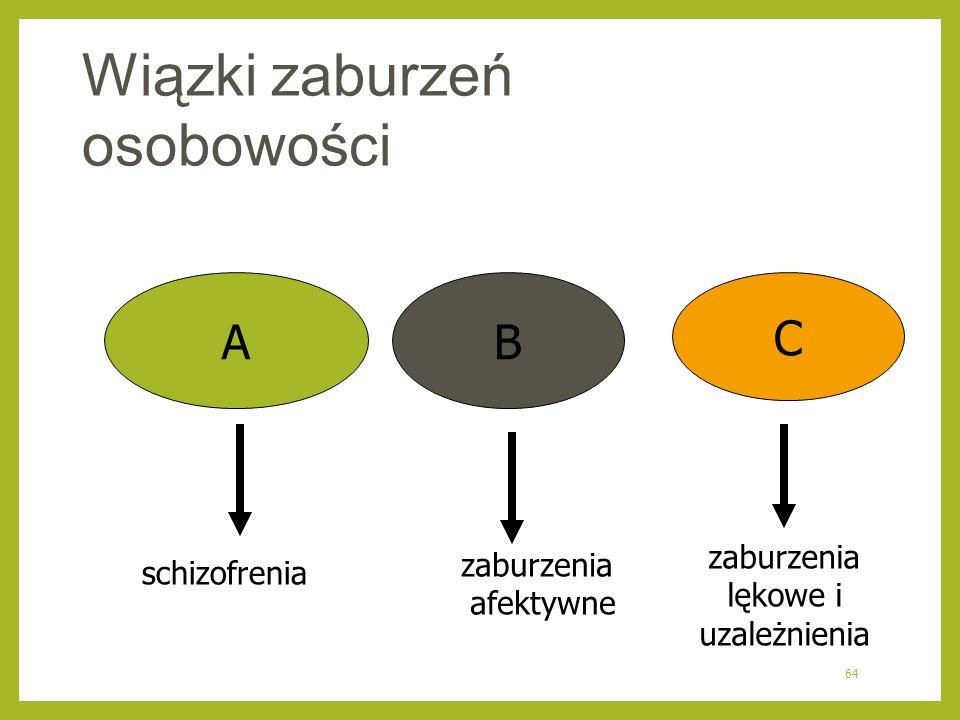 64 Wiązki zaburzeń osobowości AB C schizofrenia zaburzenia afektywne zaburzenia lękowe i uzależnienia