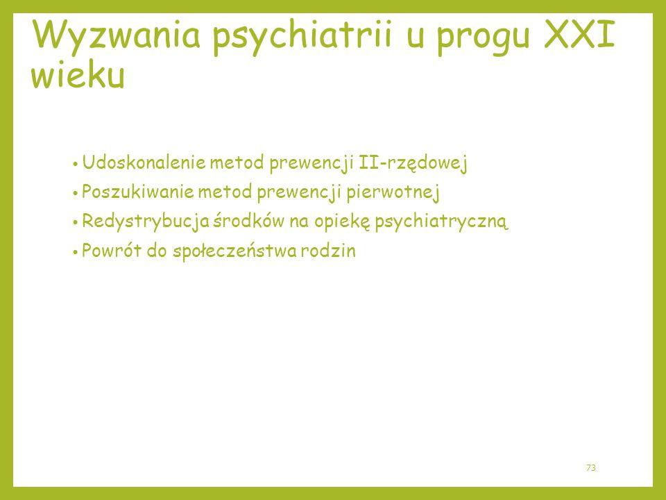 Wyzwania psychiatrii u progu XXI wieku Udoskonalenie metod prewencji II-rzędowej Poszukiwanie metod prewencji pierwotnej Redystrybucja środków na opie