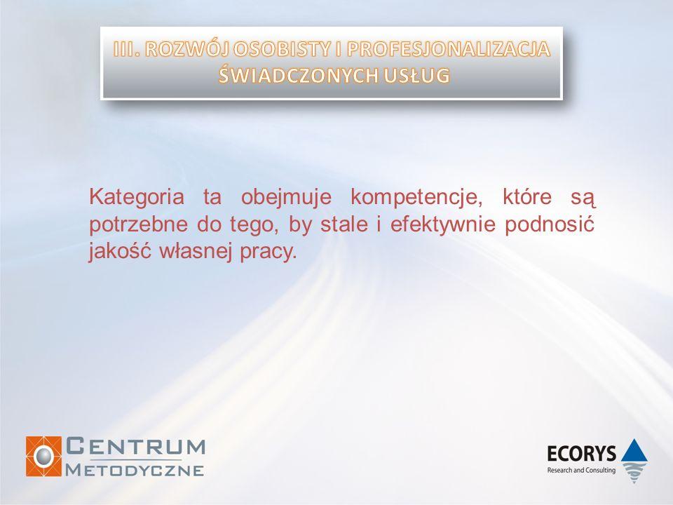 Kategoria ta obejmuje kompetencje, które są potrzebne do tego, by stale i efektywnie podnosić jakość własnej pracy.