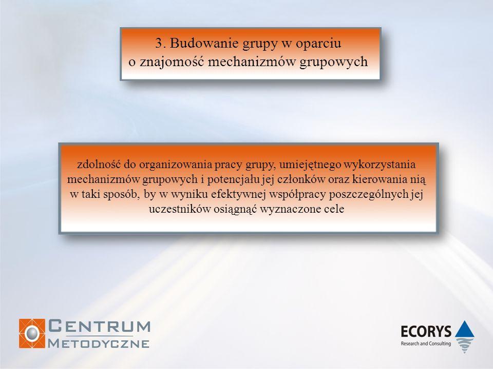 3. Budowanie grupy w oparciu o znajomość mechanizmów grupowych zdolność do organizowania pracy grupy, umiejętnego wykorzystania mechanizmów grupowych