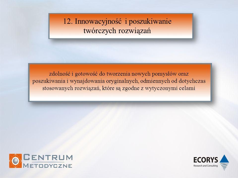 12. Innowacyjność i poszukiwanie twórczych rozwiązań zdolność i gotowość do tworzenia nowych pomysłów oraz poszukiwania i wynajdowania oryginalnych, o