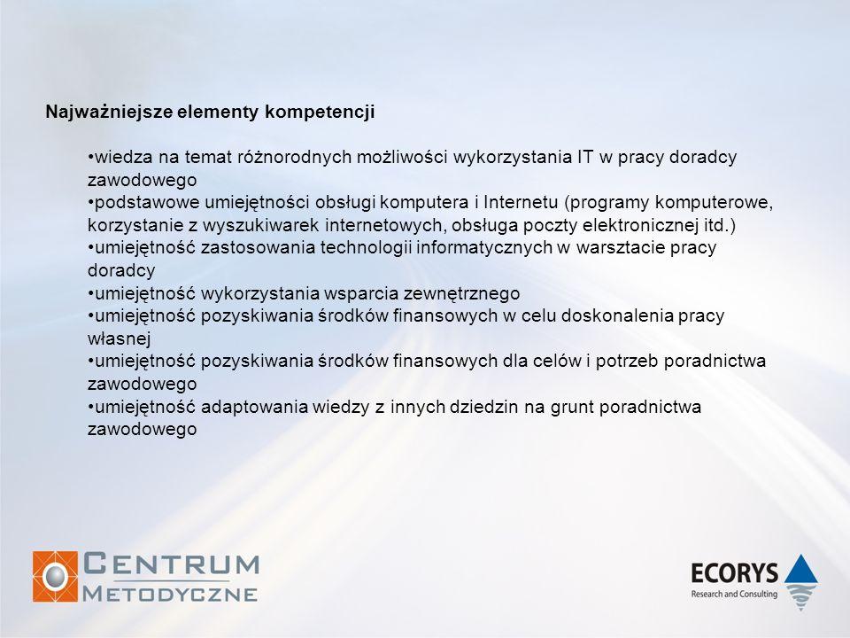 Najważniejsze elementy kompetencji wiedza na temat różnorodnych możliwości wykorzystania IT w pracy doradcy zawodowego podstawowe umiejętności obsługi