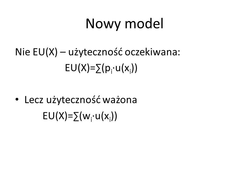 Nowy model Nie EU(X) – użyteczność oczekiwana: EU(X)=(p i u(x i )) Lecz użyteczność ważona EU(X)=(w i u(x i ))