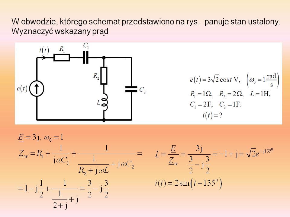 W obwodzie występuje stan ustalony.Ułożyć równania wynikające z metody napięć węzłowych.