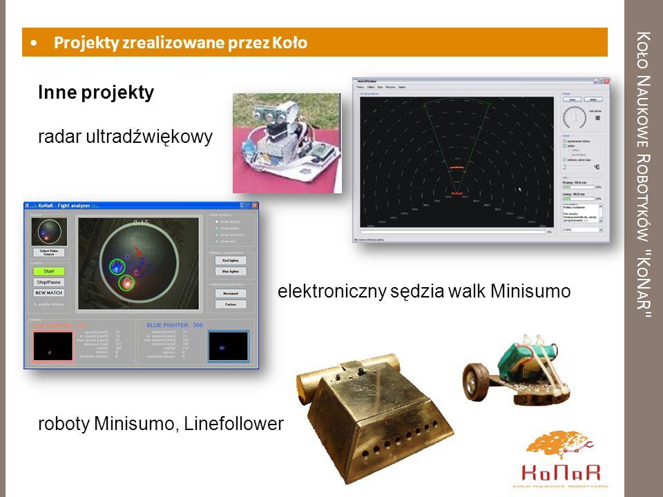 K OŁO N AUKOWE R OBOTYKÓW K O N A R Projekty zrealizowane przez Koło Inne projekty radar ultradźwiękowy elektroniczny sędzia walk Minisumo roboty Minisumo, Linefollower