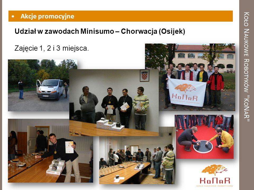 K OŁO N AUKOWE R OBOTYKÓW K O N A R Akcje promocyjne Udział w zawodach Minisumo – Chorwacja (Osijek) Zajęcie 1, 2 i 3 miejsca.