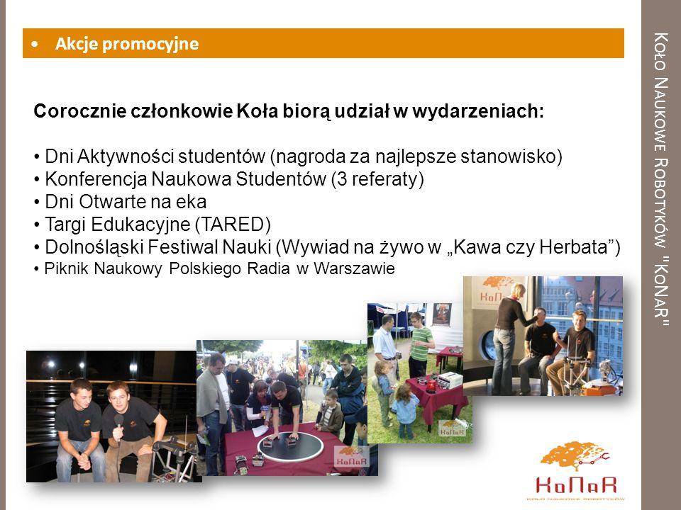 K OŁO N AUKOWE R OBOTYKÓW K O N A R Akcje promocyjne Corocznie członkowie Koła biorą udział w wydarzeniach: Dni Aktywności studentów (nagroda za najlepsze stanowisko) Konferencja Naukowa Studentów (3 referaty) Dni Otwarte na eka Targi Edukacyjne (TARED) Dolnośląski Festiwal Nauki (Wywiad na żywo w Kawa czy Herbata) Piknik Naukowy Polskiego Radia w Warszawie