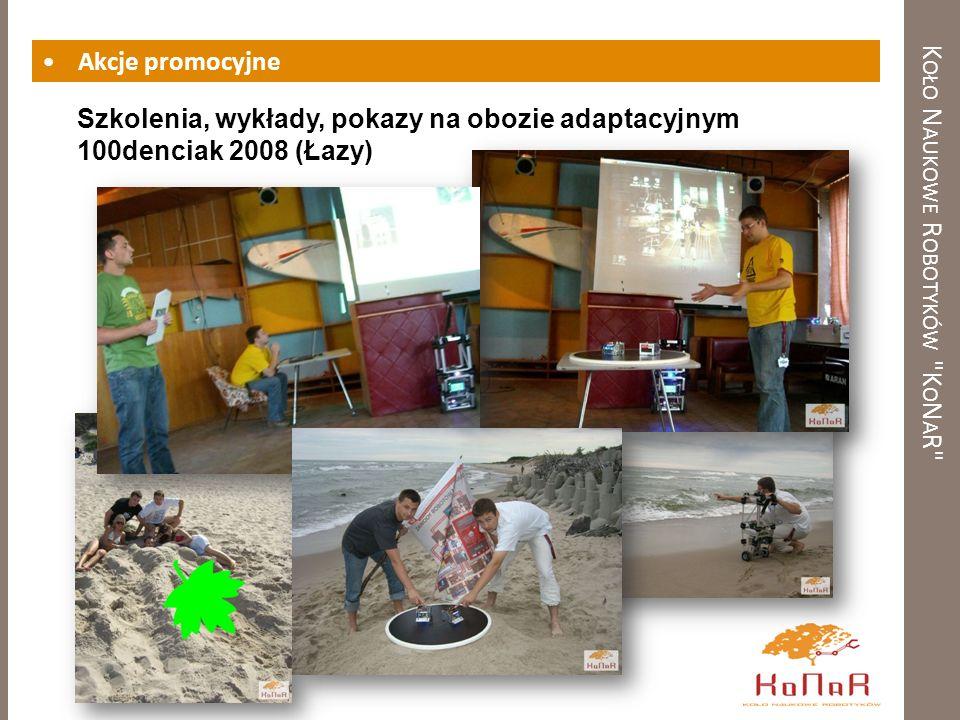 K OŁO N AUKOWE R OBOTYKÓW K O N A R Akcje promocyjne Szkolenia, wykłady, pokazy na obozie adaptacyjnym 100denciak 2008 (Łazy)