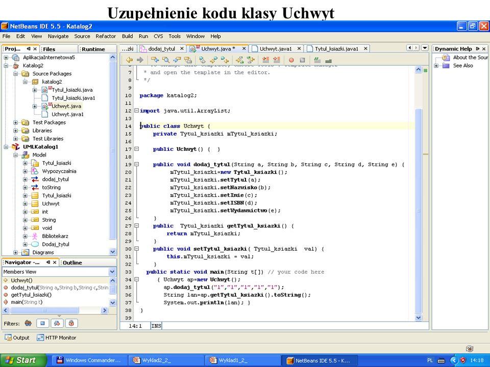 PIO 2_2, Zofia Kruczkiewicz11 Uzupełnienie kodu klasy Uchwyt