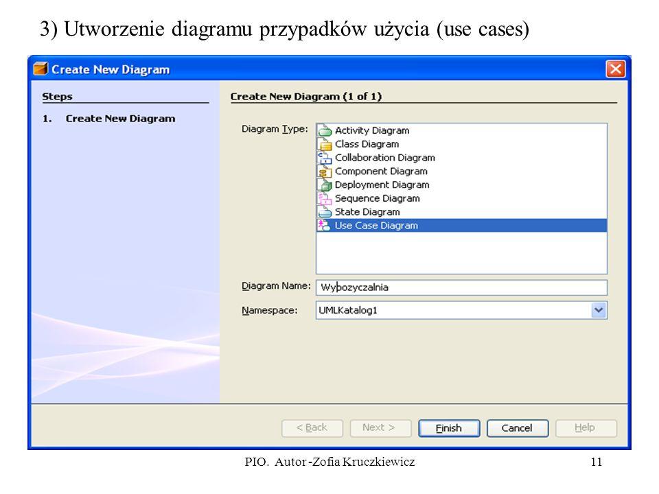 PIO. Autor -Zofia Kruczkiewicz11 3) Utworzenie diagramu przypadków użycia (use cases)