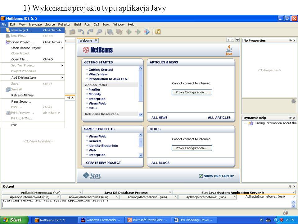 PIO. Autor -Zofia Kruczkiewicz4 1) Wykonanie projektu typu aplikacja Javy
